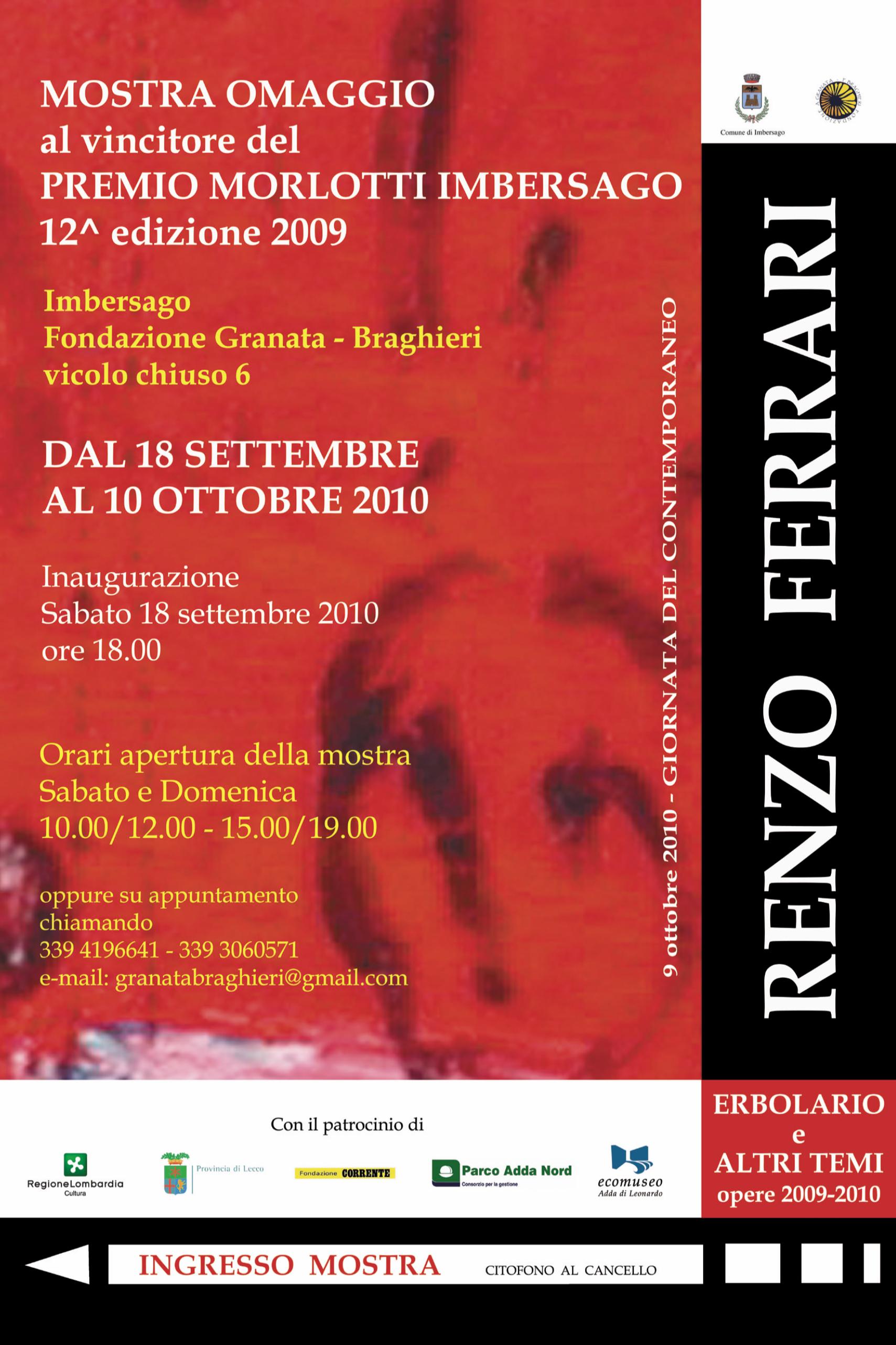 Erbolario e altri temi. Opere 2009 -2010 di Renzo Ferrari
